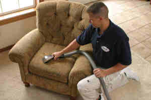 Upholstery cleaning experts in Bunbury apply protectants and sanitisers to fight furniture stains and bacteria - image